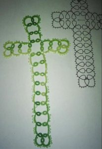 My finished first completed tatting project! Yes, I have a long way to go. But completing it is a big accomplishment